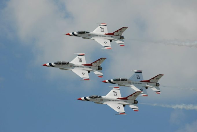 fighter jets in diamond formation